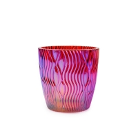 Wholesale Handmade Hot Pink Purple Striped Glass Candle Cup With Aluminum Cap from china suppliers
