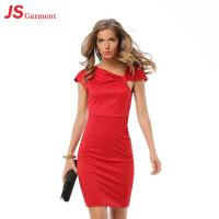 Wholesale Pleated V Neck Short Elegant Office Dresses Pure Color Slim Pack Hip from china suppliers