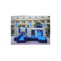 Buy cheap Blue And White City Wall Inflatable Bounce With Slide / Backyard Jumping Castle from wholesalers