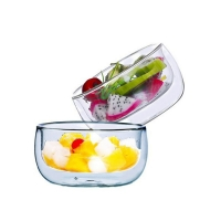 Wholesale SGS Double Clear Glass Salad Bowls Disc Shaped customized printing from china suppliers