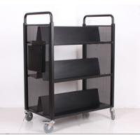 Wholesale Heavy duty library W type book cart, mobile metal household book trolley on wheels from china suppliers