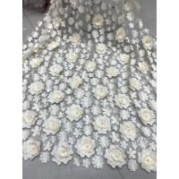 Wholesale 3D Embroidered Flower Beaded Wedding Gown Lace Fabric Anti-static Fashion from china suppliers