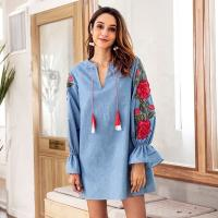 Quality Denim Blue Drawstring Cute Short Casual Dresses / Embroidered Lantern Long for sale