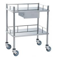 Wholesale Movable Medical Clinical Trolley Stainless Steel With Two Shelves And One Drawer from china suppliers
