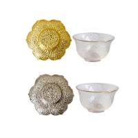 Wholesale Lotus Base Hammer Pattern Transparent Glass Tea Cups Gold Silver Color from china suppliers