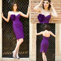Quality Purple Taffeta Sweetheart Short Tight Party Dresses with Back Split / Flower Draped for sale