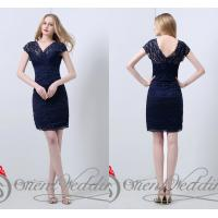 Wholesale Sexy Sheath V Neck Lace Ladies Party Dresses Sheer Beads Short for summer from china suppliers