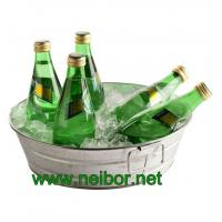 China Round galvanized metal beverage tub with handles soda cooler beverage cooler on sale