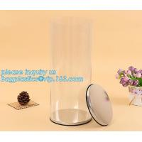 China clear PVC PET can for food canning,Customized round clear paint can with tin lid,paint can with tin top & bottom and han on sale