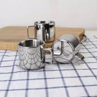 Wholesale Promotion Coffee Tea cup set Double Wall Metal Coffee Mug Stainless Steel 18/8 Cup With dish from china suppliers