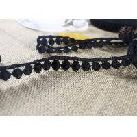 China Water Soluble Flat Ball Black Lace Trim By The Yard , Chemical Polyester Lace Ribbon on sale