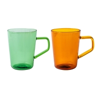 Wholesale Summer Green Amber High Borosilicate Glass Cup 420ml With Handle from china suppliers