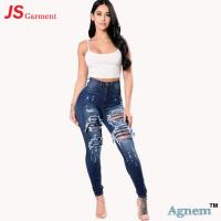 Wholesale Eco - Friendly Ladies High Waisted Jeans / High Waisted Ripped Skinny Jeans from china suppliers