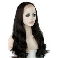 Wholesale Natural Straight Heat Resistant Fiber Synthetic Hair Wigs Lace Front With Dark Brown from china suppliers