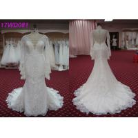 Wholesale Modest Soft Lace Mermaid Style Wedding Dress With Long Sleeves Appliqued Decor from china suppliers