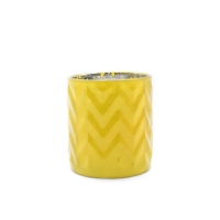 Wholesale Yellow Cylinder Corrugated Glass Candle Cups With Aluminum Cap from china suppliers