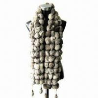 China Rabbit Fur Ball Scarf, Suitable for Women on sale