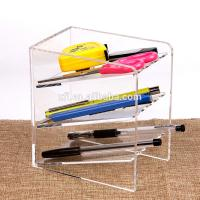 Wholesale 3 Tier Acrylic Shop Display Pen Holder Acrylic Stationery Shelf Display Rack Customized Logo from china suppliers