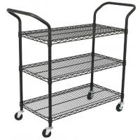 Wholesale Custom Size Wire Utility Cart With Wheels / 3 Shelf Metal Utility Cart from china suppliers