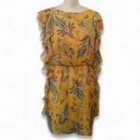 Wholesale Vintage Printed Frill Dress from china suppliers