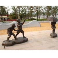 Wholesale Bronze Children in park fly a kite Statue Sculpture for Garden Decoration from china suppliers