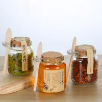 Wholesale Custom 250ml Glass Honey Jars Pickle Jar With Lids and labels Wood Spoon from china suppliers