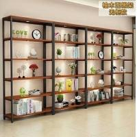 China Retail Store Industrial Metal And Wood Bookcase Living Room Plywood Wood on sale