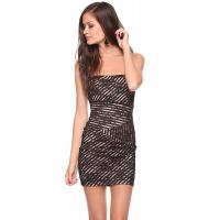 Black Lace Overlay Ladies Tight Open Back Short Dresses For Party