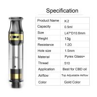 Wholesale CBD tank K2 cartridge 0.5ml tank capacity adjustable airflow ceramic coil pyrex glass and metal material gold color from china suppliers