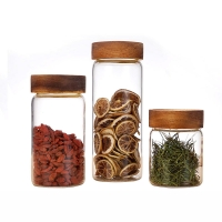 Wholesale Food Storage Round High Borosilicate Glass Food Airtight Jar With Acacia Wood Lid from china suppliers