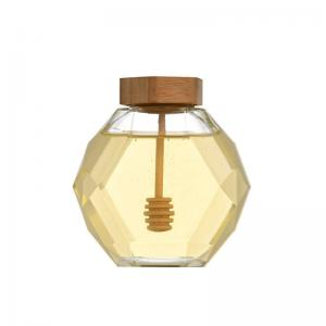 Wholesale Luxury Hexagon Empty Glass Honey Jars 380ml With Dipper from china suppliers