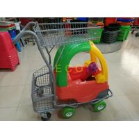 China Hand Push Plastic Kids Shopping Carts With Castors , Movable Store Wire Mesh Basket Trolley on sale