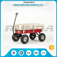 China Light Duty Garden Mesh Cart 21kg , Red Color Steel Garden Wagon10inches Wheel on sale