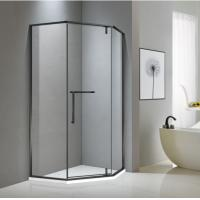Buy cheap Neo-angle matt black stainless steel shower enclosure 900*900 with one hinge from wholesalers