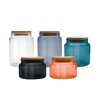 Wholesale 500ml 680ml High Borosilicate Glass Storage Jars With Bamboo Lid from china suppliers