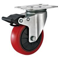 Wholesale 4 Inches Polyurethane PU Caster Wheel With Total Locking Brakes Color Optional from china suppliers