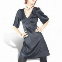 Wholesale Women's Silk Cocktail Dress, Puff Sleeves and V-neck from china suppliers