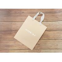 Wholesale Nude carboard Hot stamped Paper biodegradable shopping bags with white fabric Handle from china suppliers