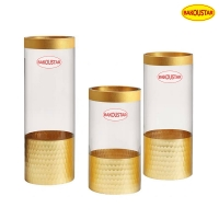 Wholesale Polished Gold Hammer Straight Tube Decorative Glass Vases from china suppliers
