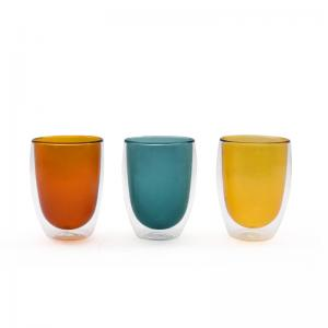 Wholesale Delicate Pyrex Glass Double Cup Colored For Home Breakfast from china suppliers