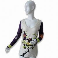 Wholesale Women's L/S Silk/Wool Printed T-shirt from china suppliers