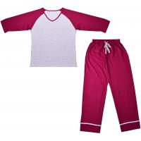 Wholesale Embroidered Womens Cotton Knit Pajamas / Ladies Loungewear Sets Any Color Available from china suppliers