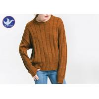 Quality Anti - Pilling Brown Womens Knit Pullover Sweater Soft Rib Knitting Apparel for sale