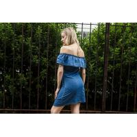 Quality Women Off Shoulder Ruffled Embroidered Casual Dress Anti Wrinkle Eco Friendly for sale