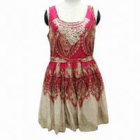 Ladies' Casual Dress with Pattern Sleeveless and Belt