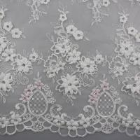 Wholesale 3D Flower Beaded Lace Fabric , Embroidery Lace Tulle Fabric For Bridal Dresses from china suppliers