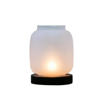 Wholesale Lantern Shaped Frosted Transparent Glass Candlestick With Aluminum Cap from china suppliers