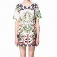 Wholesale O-neckline different print on yoke short sleeve print shift dress from china suppliers