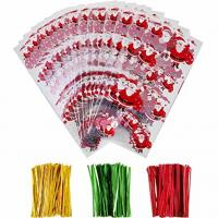 China OPP Christmas Cellophane Treat Bags/ Candy Cookie Packaging Bags with Twist Ties on sale