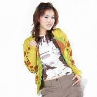 Wholesale Women's CVC Fleece Hoodie with Allover Printing from china suppliers